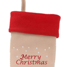 Christmas Stocking beige red merry fun cute embroidered name for