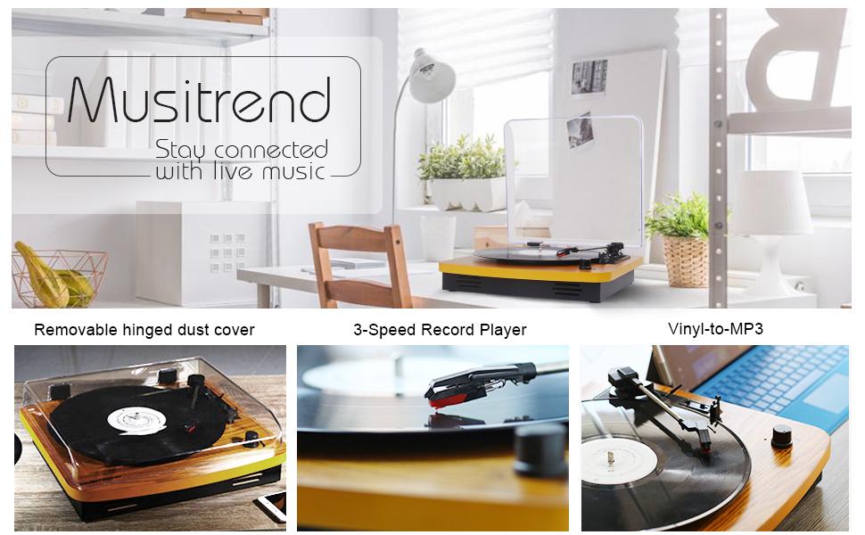 Amazon.com: Musitrend - Tocadiscos de 3 velocidades, con ...
