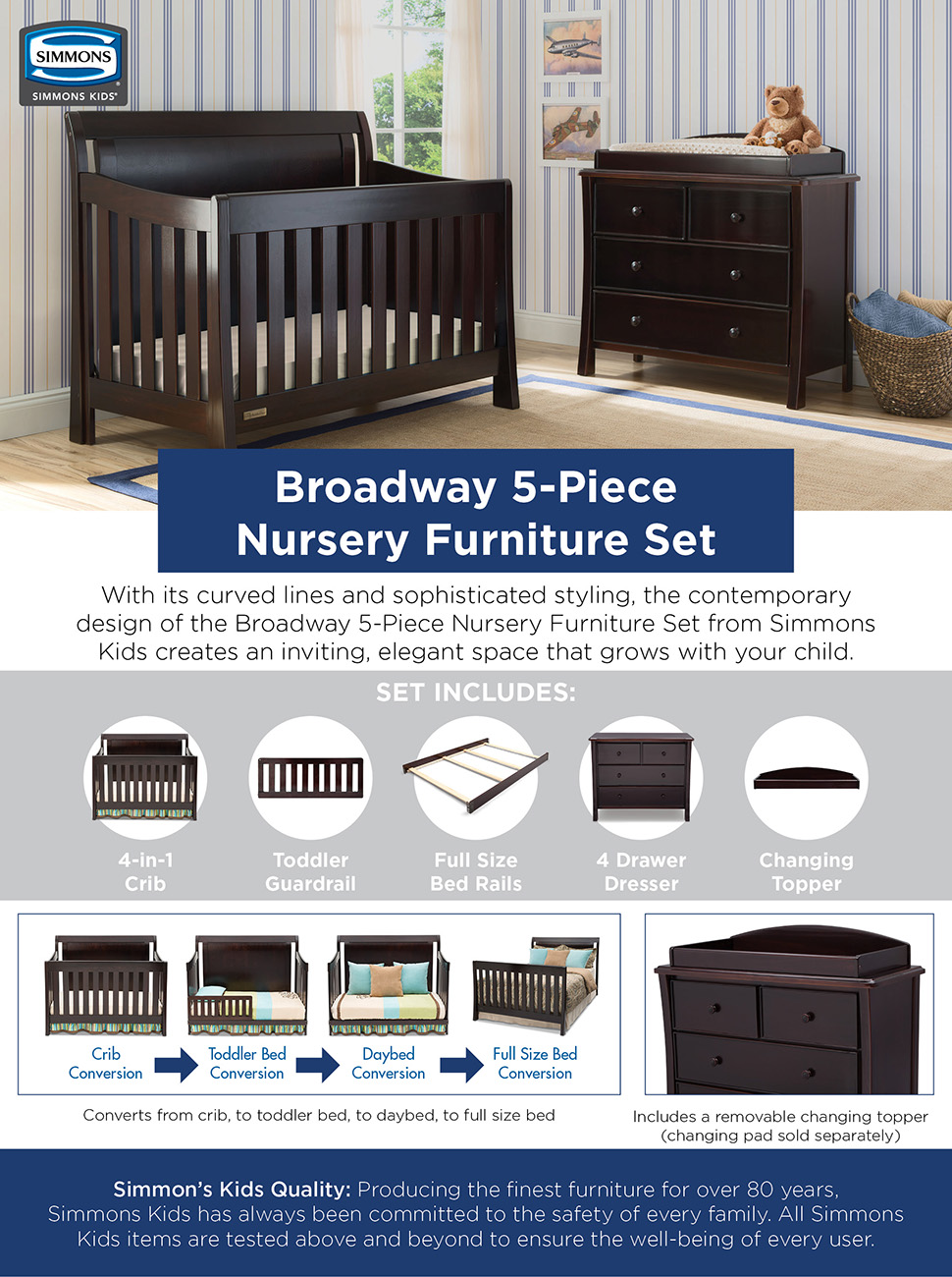 simmons nursery furniture. With Its Curved Lines And Sophisticated Styling, The Contemporary Design Of Broadway 5-Piece Nursery Furniture Set From Simmons Kids Creates An Inviting O