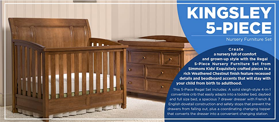 Amazon Com Simmons Kids King 5 Piece Nursery Furniture