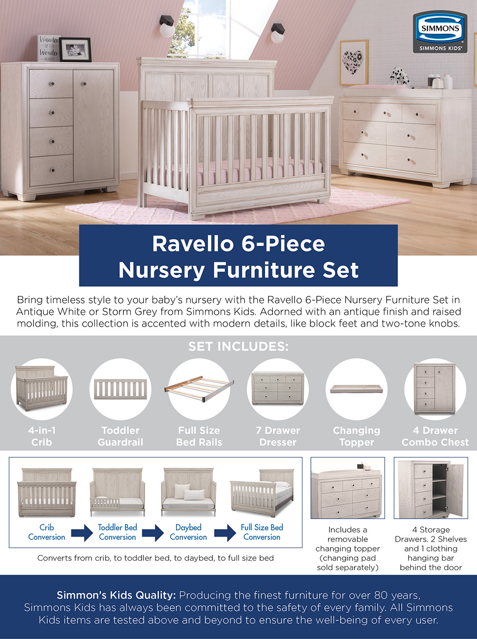 Bring timeless style to your baby's nursery with the Ravello 6-Piece Nursery  Furniture Set in Antique White or Storm Grey from Simmons Kids. - Amazon.com : Simmons Kids Ravello 6-Piece Nursery Furniture Set