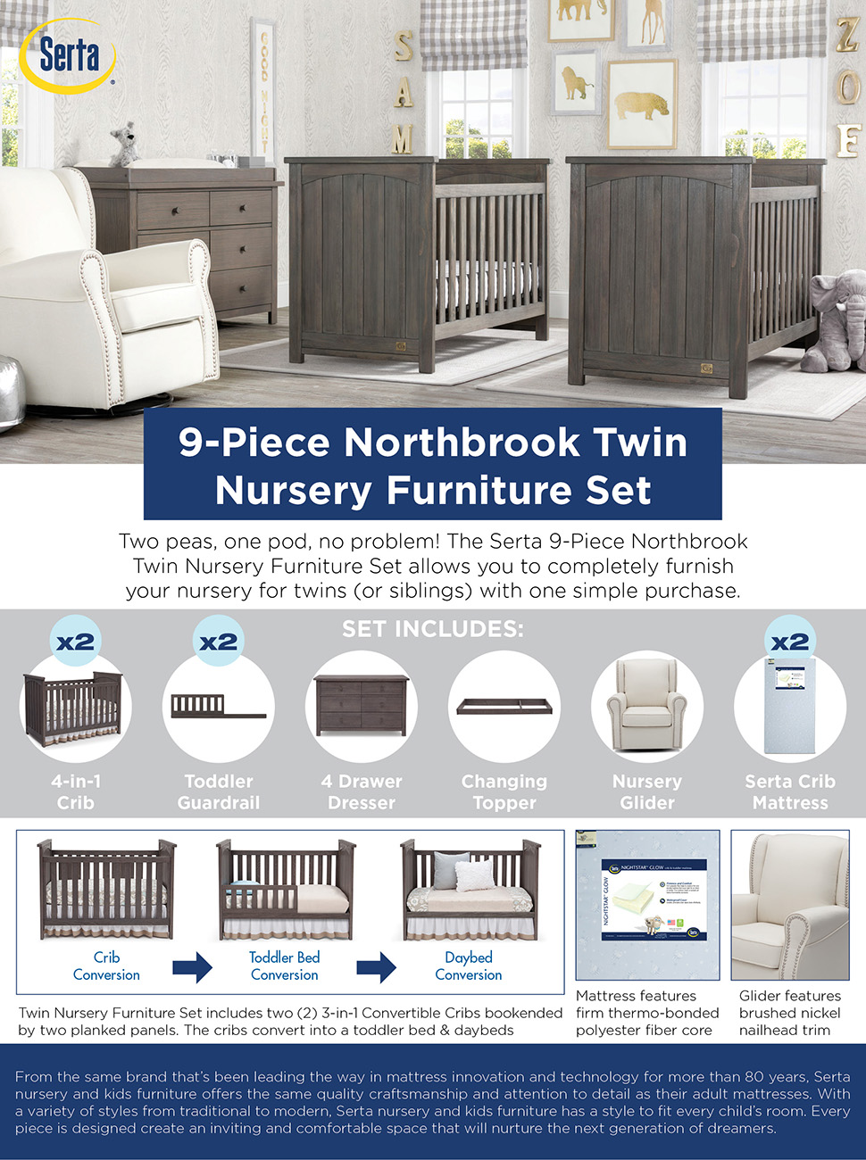 twins nursery furniture gray the serta 9piece northbrook twin nursery furniture set allows you to completely furnish your nursery for twins or siblings with one simple purchase amazoncom baby twins