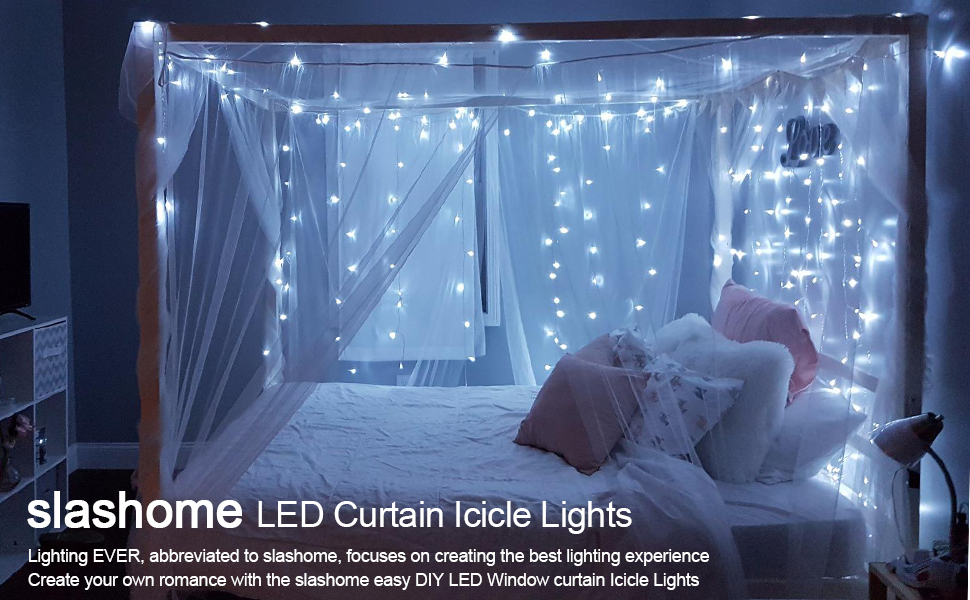Amazoncom Ucharge LED Curtain Icicle Lights With Modes - Icicle lights in bedroom