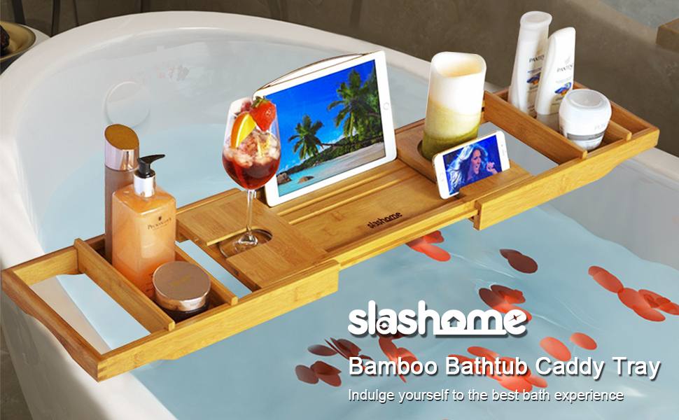 Amazon.com: Slashome Bamboo Luxury Bathtub Caddy Tray Organizer with ...