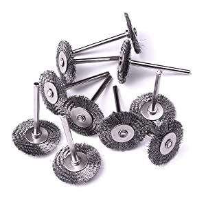 Atoplee 20pcs 1 inch//25 mm Shank Cup Wheel Brush Mini Wire Brush for Die Grinder Rotary Tools WhlBrushes-Steel-25mmx20pc