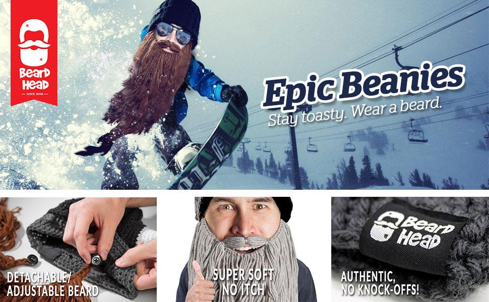 beard head hat beanie knit fake beard costume funny viking mustache