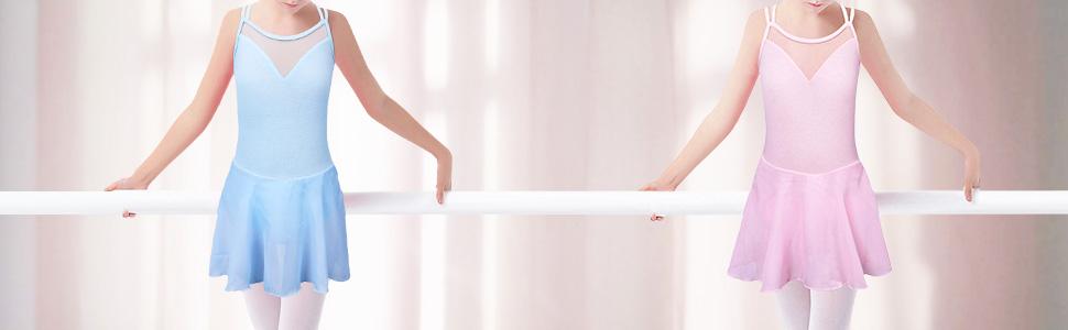 girls leotards for ballet with tutu skirt blue pink black purple 3 4 5 6 7 8 9 10