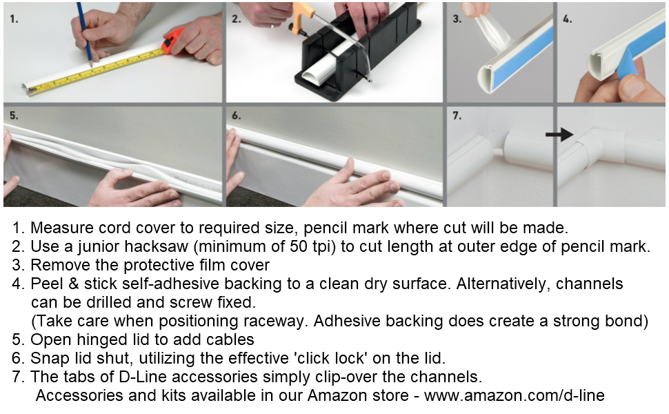 D-Line White Cable Raceway On-Wall Cord Cover | 39 Inch Medium Paintable  Channel to Hide and Conceal Cords, Cables, or Wires | Cable Management |