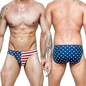 Mens USA Flag Briefs Swimwear