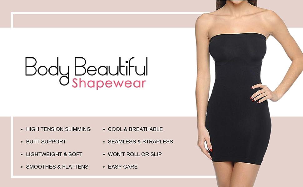 25aff05ad24 Body Beautiful Strapless Full Body Slip Shaper in Shiny Yarn at ...