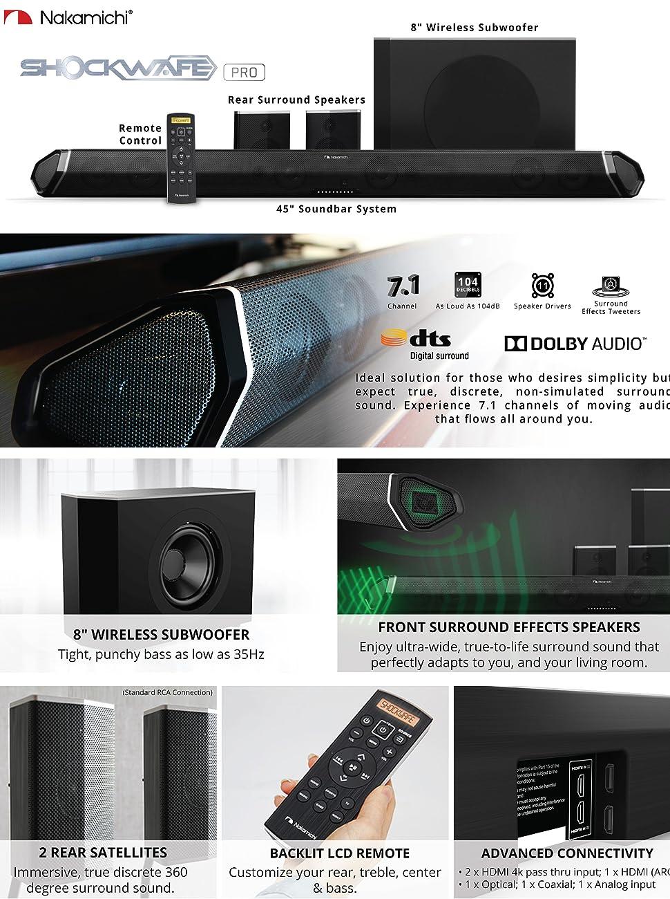 Nakamichi Shockwafe Pro 71ch 400w 45 Sound Bar With 8 Hdmi Arc Wiring Diagram 71 Soundbar