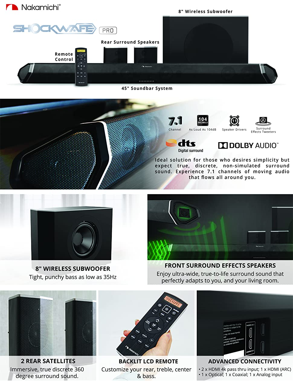 surround sound bar system kit wireless subwoofer home theater speakers 7 1 dolby 42822139520 ebay. Black Bedroom Furniture Sets. Home Design Ideas