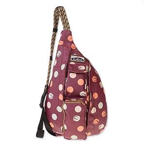 NEW KAVU Mini Rope Sling Bag Paper Flock Blue Red Brown Pattern Fantastic