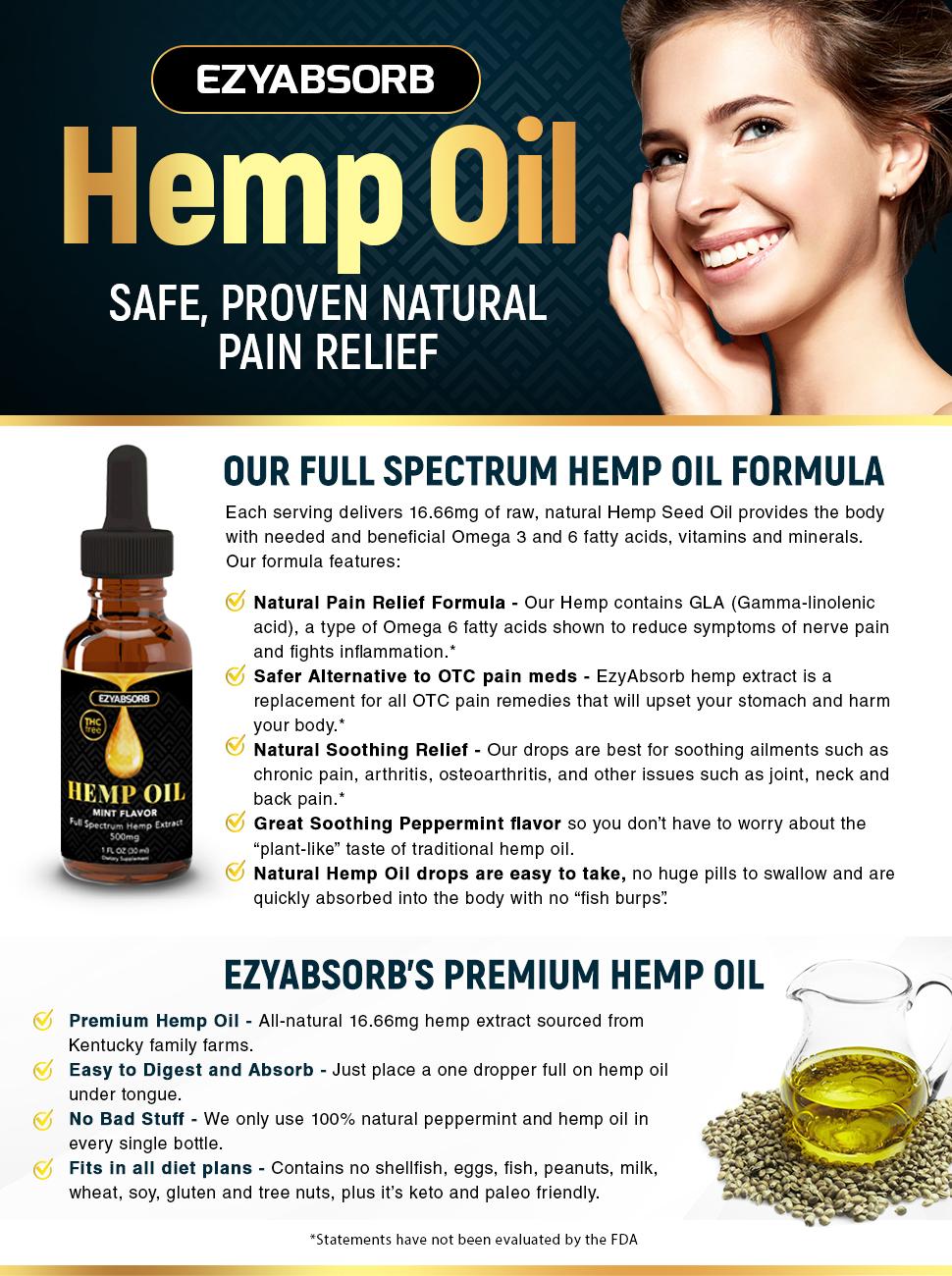Organic Hemp Seed Extract for Pain & Stress Relief (THC Free), Mint Flavor Kosher Vegan Gluten Free