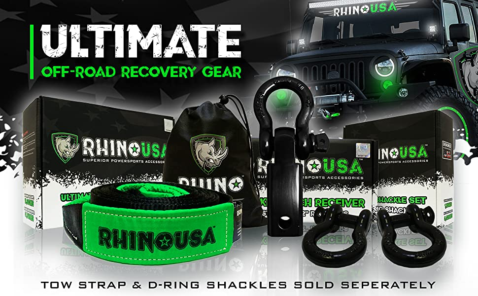 Rhino USA Shackle Hitch Receiver, Best Towing Accessories for Trucks & Jeeps