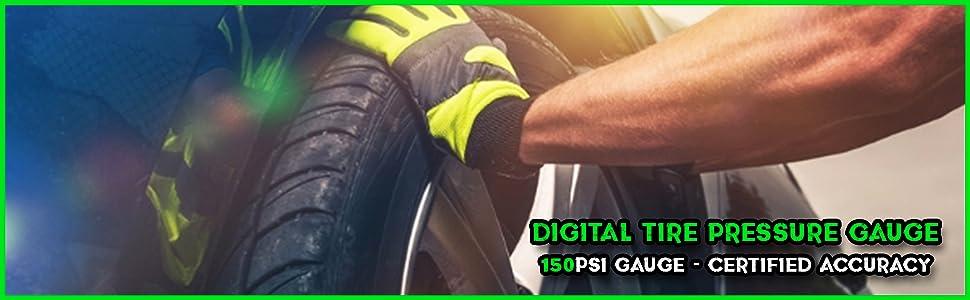 4 Ranges Ergonomic Design w//L... Rhino USA Digital Tire Pressure Gauge 150 PSI
