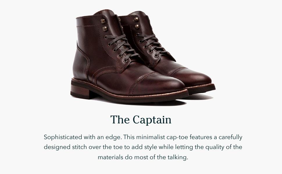 Minimalist cap-toe boot.