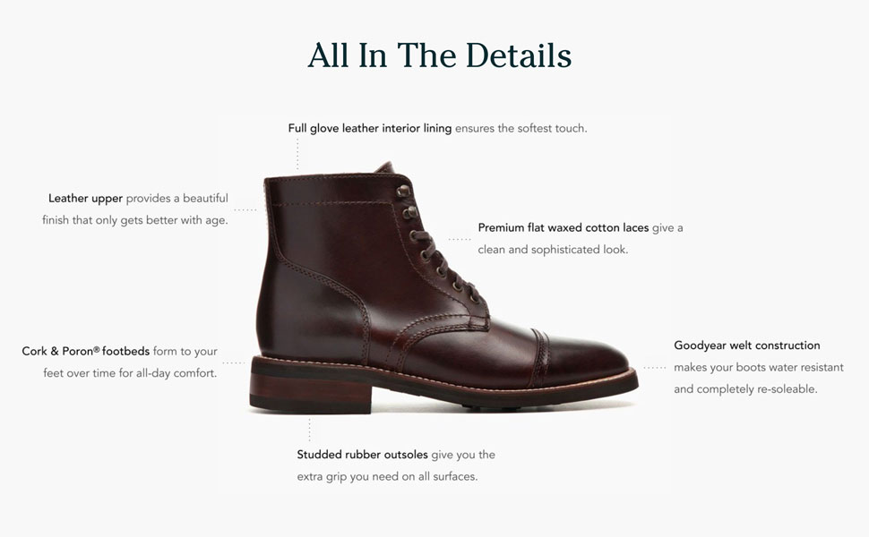 Full grain leather, glove leather lining, goodyear welt construction, studded rubber outsoles.