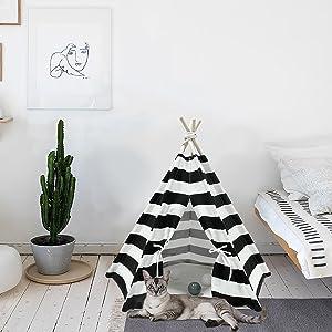 pet teepee black & white stripe