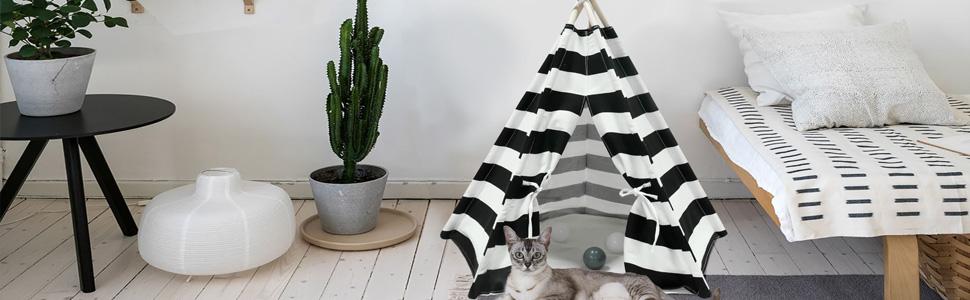 black & white stripe pet teepee