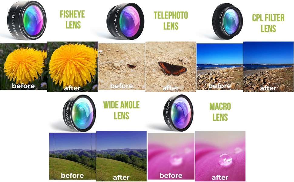 2x telephoto zoom 15x macro 0.63x wide angle 198 fisheye cpl filter lens bundle cell phone camera  5 in 1 Phone Camera Lens Kit – Optical Glass Attachment Set – 2X Zoom Telephoto, 198 Fisheye, 0.63X Wide Angle, 15X Macro, CPL Filter with Universal Clip Adapter for Cell Phones and Tablets (Black) 67de59ef 5a8a 4e14 8ba2 1305f4642622
