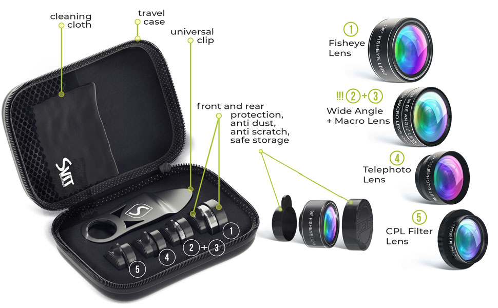 portable protective travel case for phone camera lens kit 5 in 1 set  5 in 1 Phone Camera Lens Kit – Optical Glass Attachment Set – 2X Zoom Telephoto, 198 Fisheye, 0.63X Wide Angle, 15X Macro, CPL Filter with Universal Clip Adapter for Cell Phones and Tablets (Black) edd47a34 4414 44ed 894d 568a17e7820e