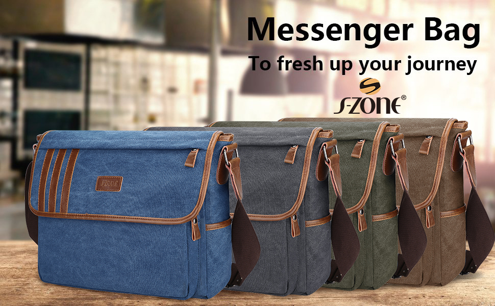"S-ZONE Retro Lightweight Canvas Messenger Bag Travel Shoulder Bag 14.1""(L)*11""(H)*4.7""(W)"