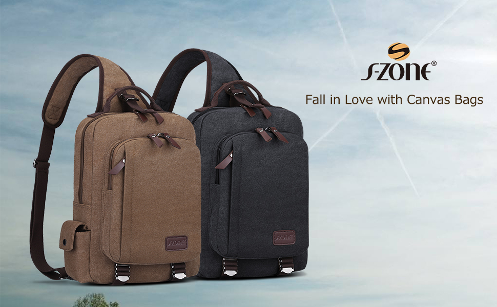 b6ee22e7b51c S-ZONE Canvas Sling Backpack  Multi-pocket design