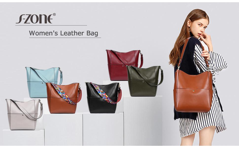 Women's Vintage Genuine Leather Bucket Tote Bag