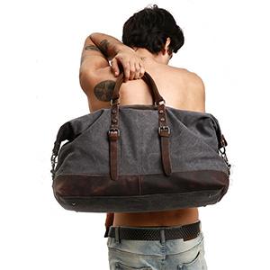 Amazon.com   S-ZONE Oversized Canvas Genuine Leather Trim Travel ... aeb7a3e793