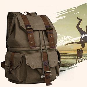 S-ZONE Canvas DSLR SLR Camera Shoulder Bag Backpack Rucksack Bag ...