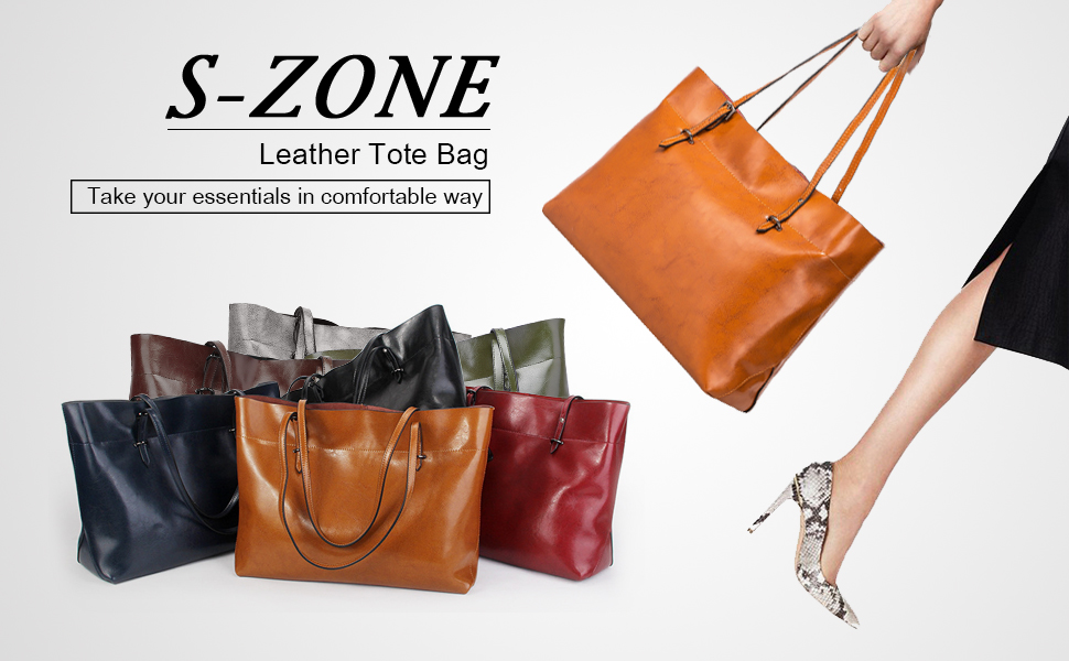 981d1a4dce S-ZONE Women s Vintage Genuine Leather Tote Shoulder Bag Handbag Upgraded  Straps Version. If you are looking for a larger capacity