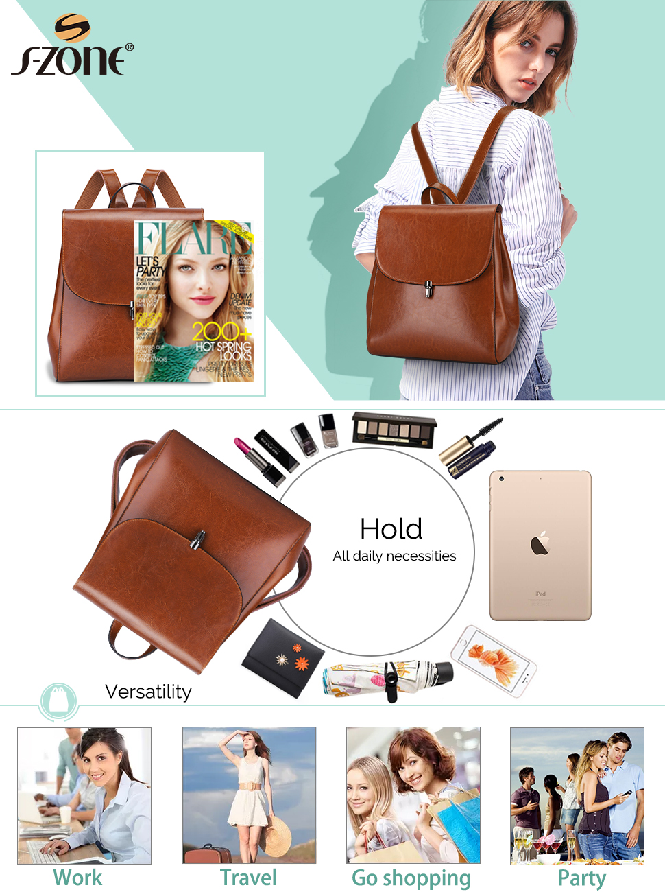 2524e7c921 S-ZONE Women Girls Ladies Leather Backpack Purse Daily Casual Travel Bag  Small