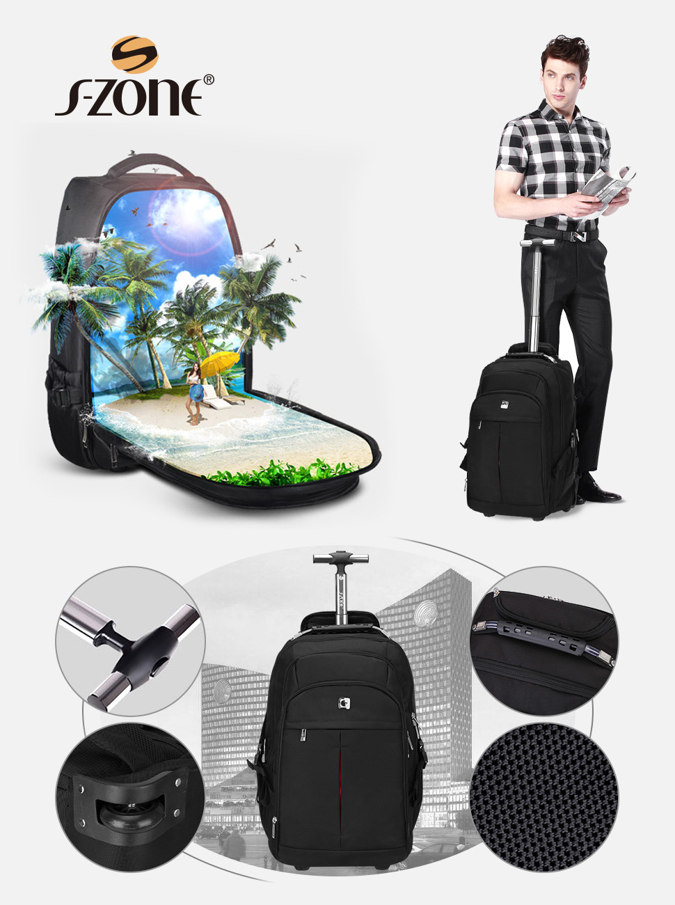 Amazon.com | S-ZONE Wheeled Backpack Rolling Carry-on Luggage ...