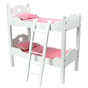 Two Of Your 18 Inch Dolls Can Sleep In This Bunk Bed Or In Matching Twin  Beds! This White Wooden Doll Bunk Bed Set Comes With A Matching Wooden  Ladder But ...