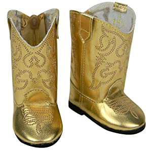 "Gold Metallic American Western Cowboy Boots for 18/"" Girl Doll shoes"