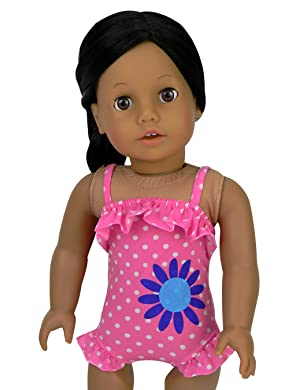 American Girl Stripes /& Dots Swimsuit for 18-inch Dolls   ~ NEW