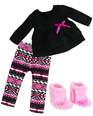 """Doll Clothes fuscia pink ruffle top leggings Outfit For 18/"""" American Girl"""