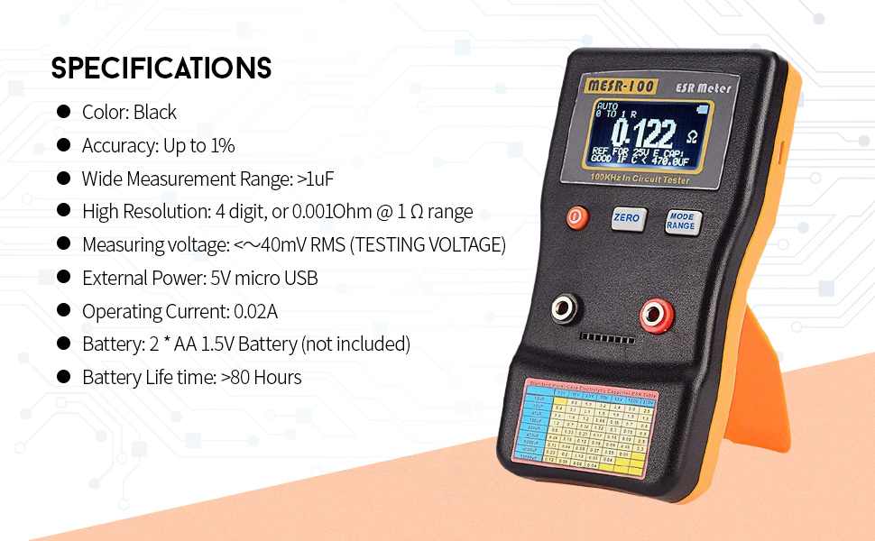 Leepesx MESR-100 ESR Capacitance Ohm Meter Professional Measuring Capacitance Resistance Capacitor Circuit Tester