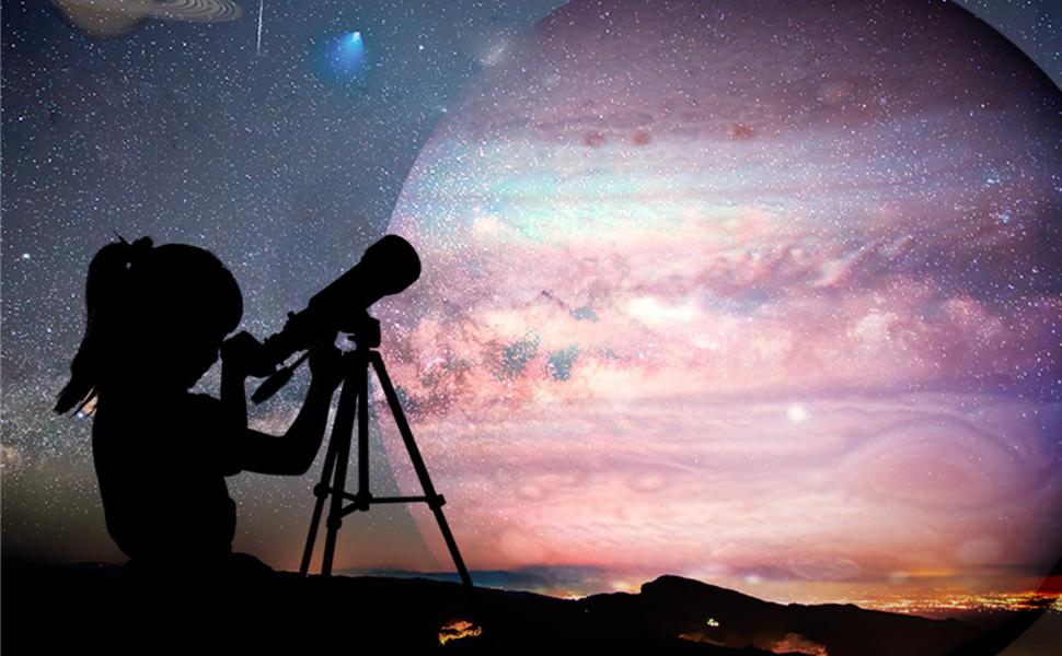 Refraktives astronomisches teleskop raum spotting bereich für kinder