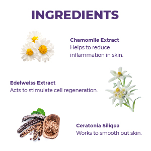 image of cream ingredients chamomile edelweiss ceratonia siliqua carob