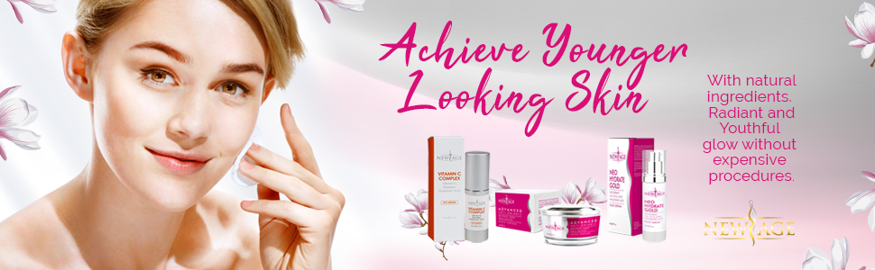 girl with aesthetic beauty products and NewAge logo.. Text checks out Achieve younger searching skin
