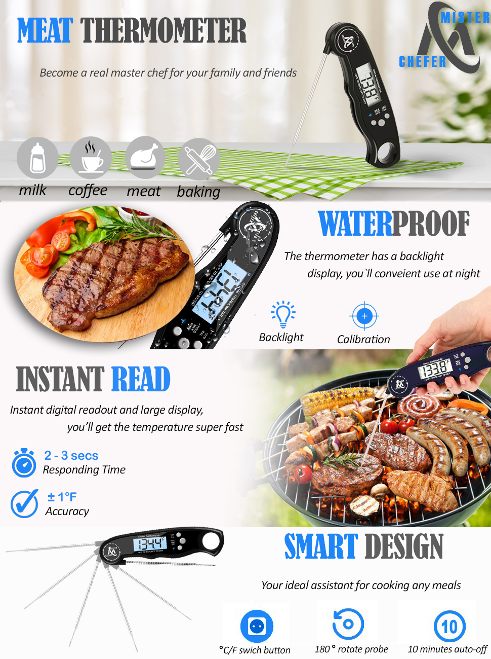 instant read thermometer mister chefer will make cooking more enjoyable and easier