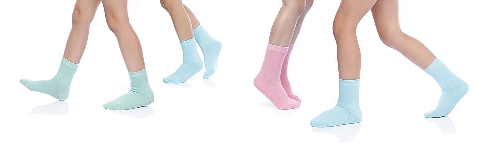SUNBVE Girls Boys Cotton Crew Low Cut Socks Off White