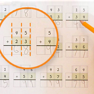 Math problems need to be lined up correctly and the grid boxes help children