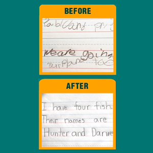 Helps writers to be consistent in letter size, spacing and writing in a straight line