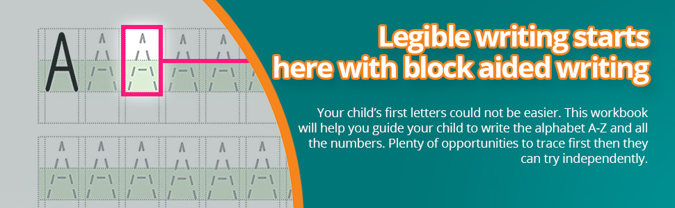 This workbook will help you guide your child to write the alphabet A-Z and all the numbers.