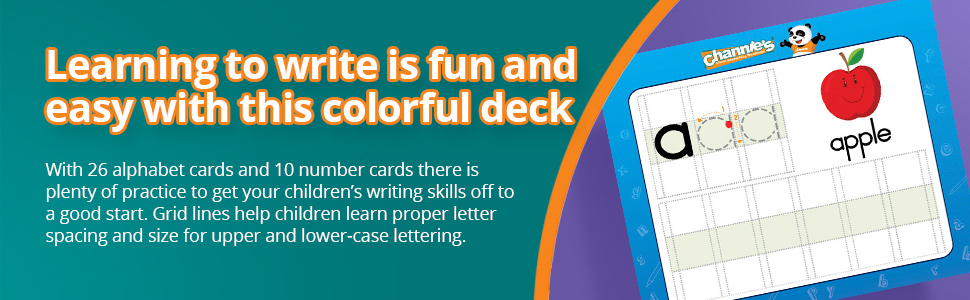 Grid lines help children learn proper letter spacing and size for upper and lower-case lettering.