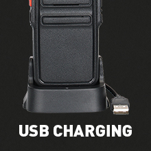two way radio with USB charger base