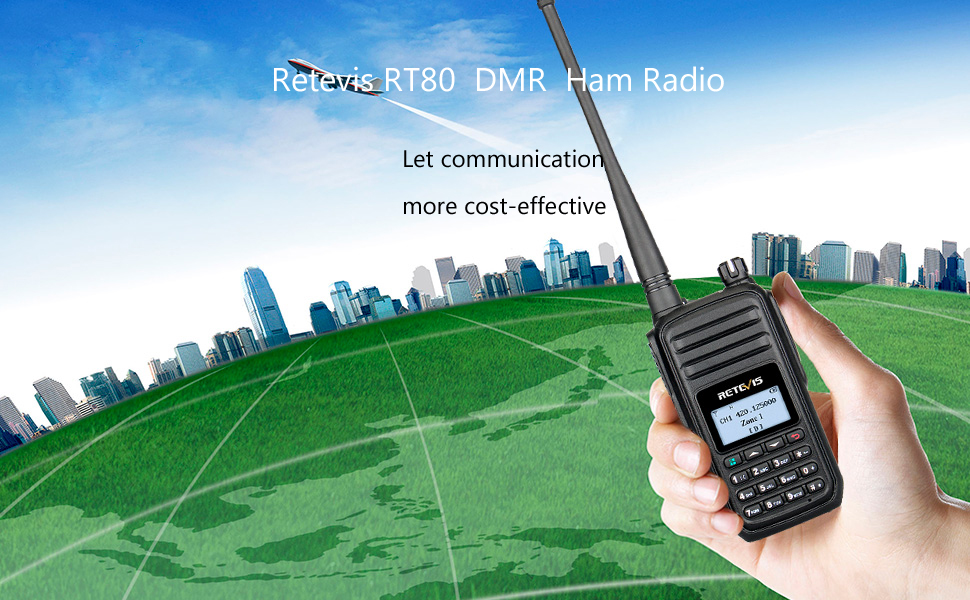 Retevis RT80 DMR Two-Way Radio Long Range 999 Ch Digital Analog Ham Amateur  Radio UHF Encryption Group Call 1500mAh Rechargeable Color LCD(1 Pack)